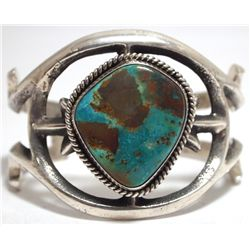 Old Pawn Navajo Green Mountain Turquoise Sterling Silver Cuff Bracelet - Mike Platero