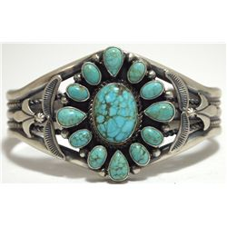 Old Pawn Navajo Spider Web Kingman Turquoise Sterling Silver Cuff Bracelet - SH