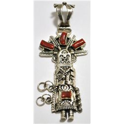 Old Pawn Coral Kachina Sterling Silver Pendant - Daniel Mike?