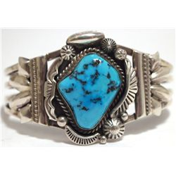 Old Pawn Navajo Sleeping Beauty Turquoise Sterling Silver Cuff Bracelet - Henry Sam