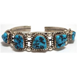 Old Pawn Navajo Sleeping Beauty Turquoise Sterling Silver Cuff Bracelet - Lucky