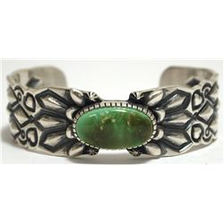 Old Pawn Navajo King's Manassa Turquoise Sterling Silver Cuff Bracelet - D