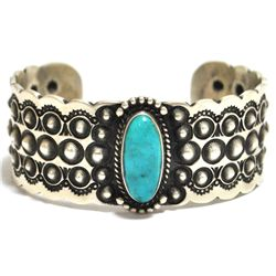 Old Pawn Navajo Candelaria Turquoise Sterling Silver Cuff Bracelet - Herman Smith