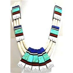 Santo Domingo Reversible Multi-Stone & Shell Heishi Necklace - Delbert & Torevia Crespin
