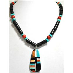 Santo Domingo Multi-Stone & Black Jet Beads Necklace - Delbert & Torevia Crespin