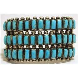 Dead Pawn Navajo Turquoise Cluster Sterling Silver Cuff Bracelet - EA