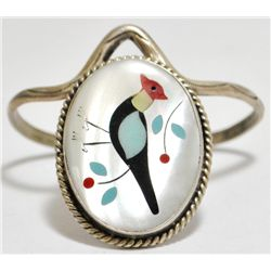 Old Pawn Multi-Stone Inlay Roadrunner Sterling Silver Cuff Bracelet