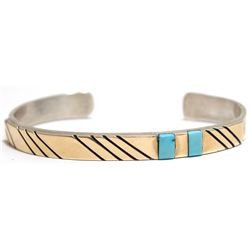 Old Pawn Navajo Turquoise & 14k Gold over Sterling Silver Cuff Bracelet - T. Jon
