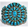 Old Pawn Turquoise Needlepoint Sterling Silver Cuff Bracelet - YSJ