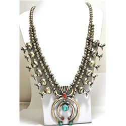 Old Pawn Coral & Turquoise Sterling Silver Heavy Squash Blossom Necklace