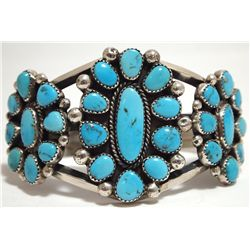 Old Pawn Navajo Valley Blue Turquoise Sterling Silver Cuff Bracelet - Mike Platero