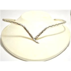 Old Pawn Navajo Sterling Silver Rigid Collar Necklace - Oscar Alexius
