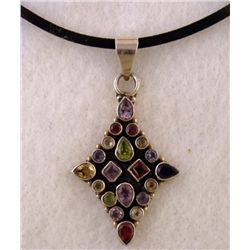 MULTI STONE STERLING PENDANT DIAMOND SHAPE ON NECKLACE