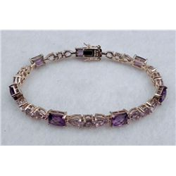 AMETHYST AND ROSE DE FRANCE STERLING BRACELET 15.7 CTW