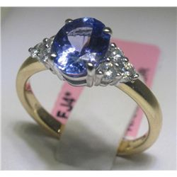 1.52 Carat Tanzanite and .29 Carat Diamonds 14K YG Ring
