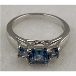 PLATINUM STERLING RING LONDON BLUE TOPAZ 1.24 CTW