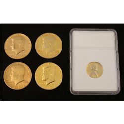 5 Novelty Golden Coins 4 Kennedy Halves 1 Lincoln Cent