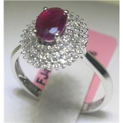 1.13 CT Ruby and .33 CT Diamonds 14K White Gold Ring