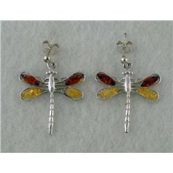 STERLING AMBER DRAGONFLY EARRINGS