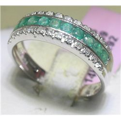.59 Carat Emerald and .16 Carat Diamonds 14K WG Ring
