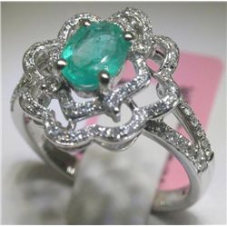 Emerald and 92 Diamonds 14K White Gold Ring H. Emperor