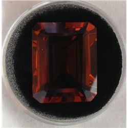 28.46 CT CITRINE ORANGE RED EMERALD CUT GEMSTONE