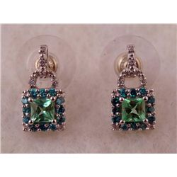 1 PAIR EARRINGS WHITE/YELLOW GOLD GREEN GEM,RHINESTONES
