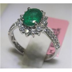 Emerald and 42 Diamonds 14K White Gold Ring H. Emperor