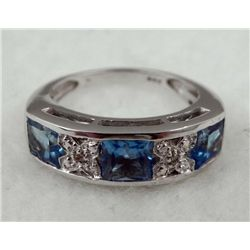 STERLING PLATINUM LONDON BLUE TOPAZ RING 1.20 CTW