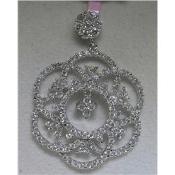 .90 Carat All Diamonds 14K White Gold Pendant