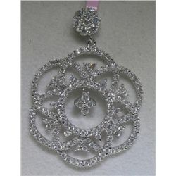 .90 Carat 150 All Diamonds 14K White Gold Pendant
