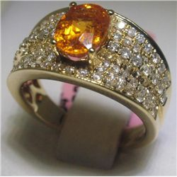 Garnet and 90 Diamonds 18K Yellow Gold Ring H. Emperor