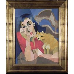 Yani Martinez Original Cubist Painting Lady & Cat Framd