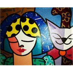 Jozza Original Pop Art Painting on Canvas Woman & Cat