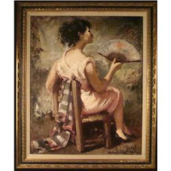 Jaime Carbonell Original Painting Woman in Chair