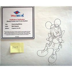 Disney Orig Line Art Drawing Parachuting Mickey Mouse