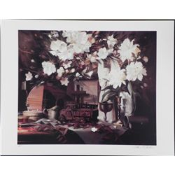 William Chambers Signed AP Art Print Azaleas & Mandolin
