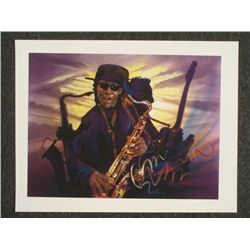 Shen Signed Print Clearence Clemons Speaking Saxophone