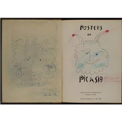 Pablo Picasso Original Drawings Signed In Book 1958
