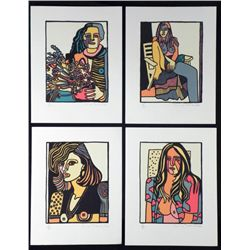 Lot of 4 Anna Thornhill S/N Erotic Lithograph Prints