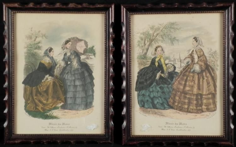 2 antique fashion art prints miroir des modes framed
