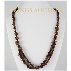 Natural 418.59ctw Handmade Tiger Eye Silver Necklace