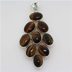 139.ctw Tiger Eye Yellow Gemstone Silver Pendant