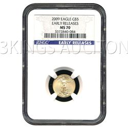 Certified $5 American Gold Eagle 2009 MS70 NGC