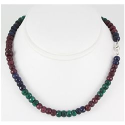 256.00ctw Natural Multi-Color Rondelles Necklace