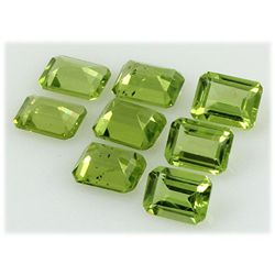 Peridot 11.49 ctw Loose Gemstone 8x6mm Emerald Cut