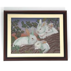 "30 1/2"" x 24 1/2"" Playful Rabbits Gemstone Painting"