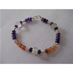 116.80 ctw Mix Semi Precious Bracelet.925 Sterling
