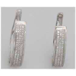 0.30ct 14K White Gold Hoop Earring