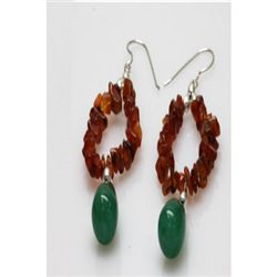 Natural 52.25ct Coral,Emerald Earrings .925 Sterling
